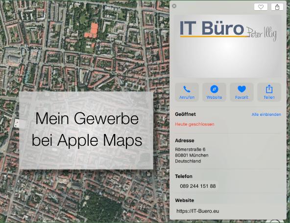 Gewerbe in Apple Maps hinzufügen