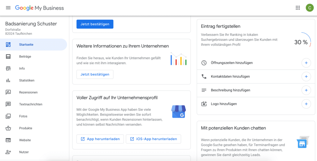Google my Business ändern